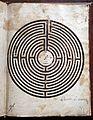 Volgarizzamento del Rimedio d'amore, La pulce, Dell'arte d'amare di Ovidio (ms. 110), xiv-xv secolo, labirinto d'amore 02.jpg