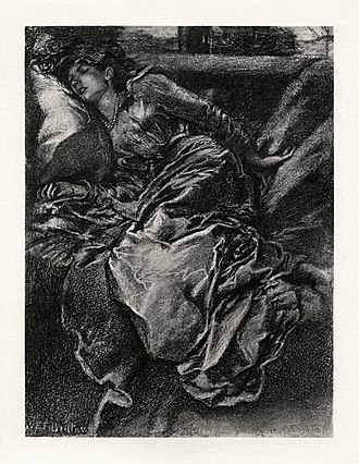 Sleeping Beauty - Illustration to Tennyson's 1830 poem, Sleeping Beauty