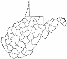 Location of Monongah, West Virginia
