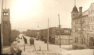 Waupaca, Wisconsin - Looking south at downtown Waupaca in 1908