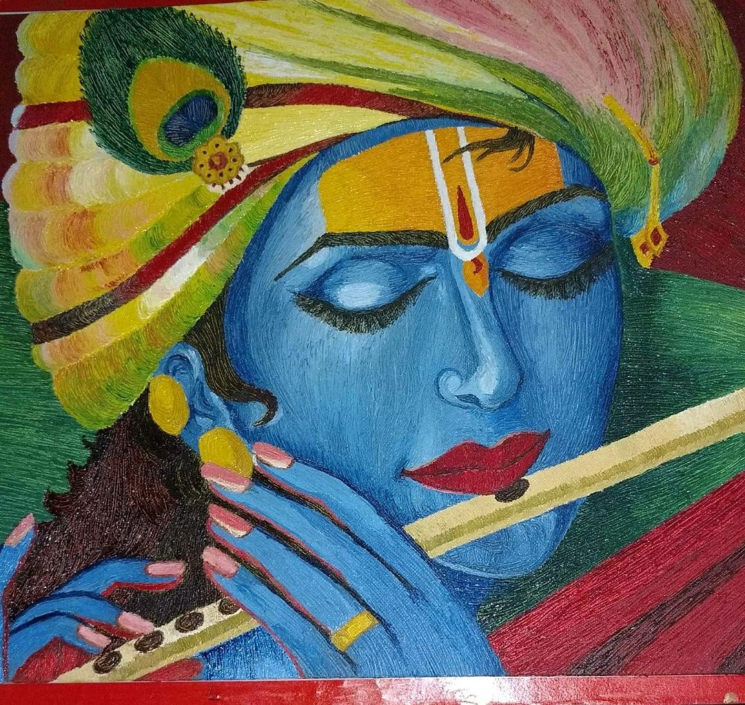 File Wego Art Gallery Hyper Realistic Krishna Needle Texture Painting In Acrylic Colour Jpg Wikimedia Commons