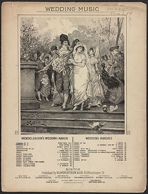 Wedding March (Mendelssohn) - Sheet music for Mendelssohn's wedding march. Illustration shows Directoire (1790s) period bride and groom on their wedding day.