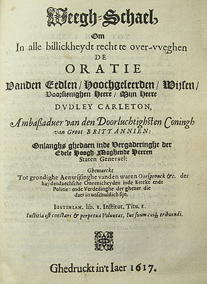 Jacobus Taurinus - Title page of Weegh-Schael (1617), anonymous pamphlet by Jacobus Taurinus.