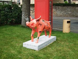 Wellow, Somerset - Pig sculpture in the centre of the village