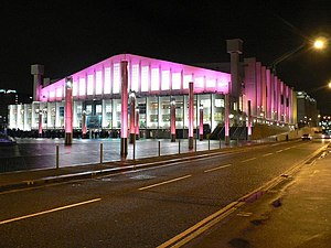 Wembley Arena, floodlit in pink - geograph.org.uk - 665133.jpg