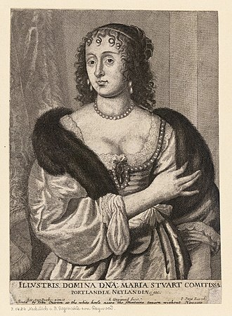 Jerome Weston, 2nd Earl of Portland - Engraving of Frances Stuart, Countess of Portland by Wenceslas Hollar after Anthony van Dyck