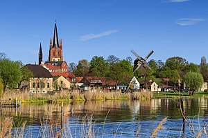 "Werder (Havel) - The Holy Spirit Church and ""Goat's windmill"" on the shore of the Havel"