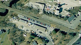 Westbrook station (Connecticut) - 2008 aerial imagery showing the 2001-built platform