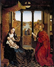 Self-portrait as Saint Luke making a drawing for his painting of the Virgin. The setting is derived from the Madonna of Chancellor Rolin by Jan van Eyck. Boston, c. 1440.