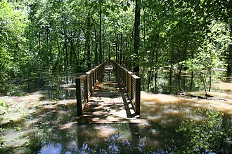 White River National Wildlife Refuge - A boardwalk, here flooded, and trails give access to refuge lands to hikers and bird watchers.