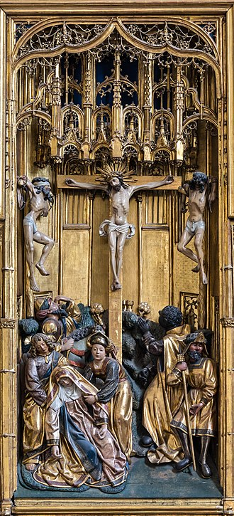 Crucifix - Crucifixion of Christ at the winged triptych at the Church of the Teutonic Order in Vienna, Austria. Woodcarvings by an anonymous master; polychromy by Jan van Wavere, Mechelen, signed 1520. This altarpiece was originally made for St. Mary's Church, Gdańsk, and came to Vienna in 1864.