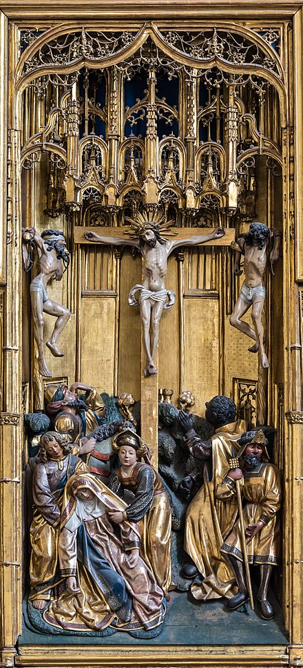 Crucifixion of Christ at the winged triptych at the Church of the Teutonic Order in Vienna, Austria. Woodcarvings by an anonymous master; polychromy by Jan van Wavere, Mechelen, signed 1520. This altarpiece was originally made for St. Mary's Church, Gdansk, and came to Vienna in 1864. Wien Deutschordenskirche Flugelaltar Kreuzigung 01.jpg