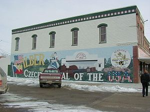 "Wilber, Nebraska - A mural in Wilber depicting ""Czech Capital of the USA"""