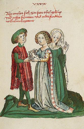 Rudolf von Ems - Wilhelm von Orlens has a conversation with Princess Amelie