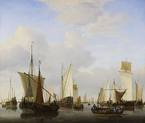 A Calm with a States Yacht, A Barge and many other Vessels under Sail