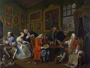 "The Clandestine Marriage - William Hogarth's Marriage à-la-mode, panel 1. ""The Marriage Settlement"", which inspired Colman and Garrick to write The Clandestine Marriage."