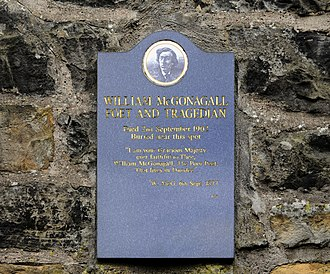 William McGonagall - Memorial plaque near to McGonagall's grave in Edinburgh dated 1999
