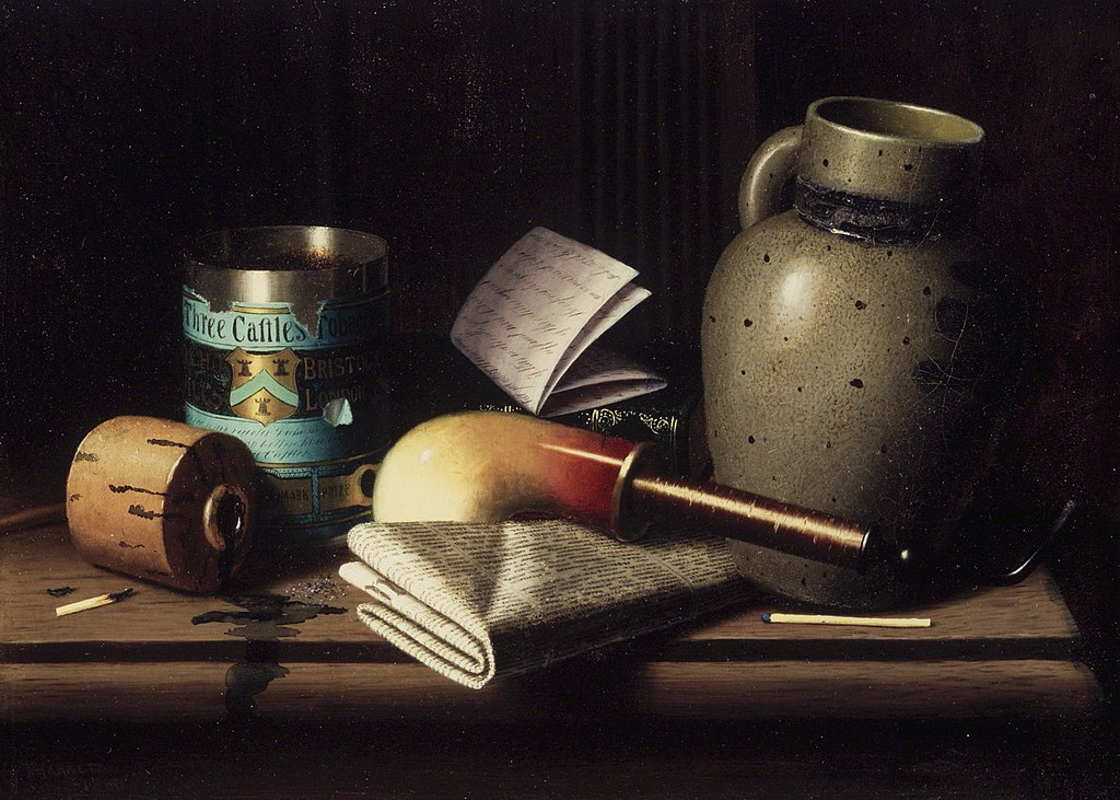 William Michael Harnett (American, 1848-1892). Still Life with Three Castles Tobacco, 1880