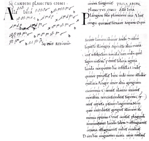 Winchester Troper - Pages from the manuscript in the Bodleian Library.