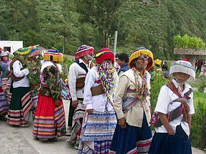 Latin Americans - Wititi dancers from Colca Canyon, Peru. Native Americans make up the majority of the population in Bolivia and Guatemala, and almost half in Peru