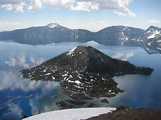 Wizard Island - Wizard Island viewed from the west rim of the caldera.