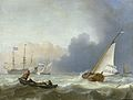 Woelige zee met Nederlands jacht onder zeil. - Rough seas with a Dutch yacht under sail (Ludolf Backhuysen, 1694).jpg