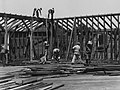 Workmen building the community center in Arabi Louisiana in 1936.jpg