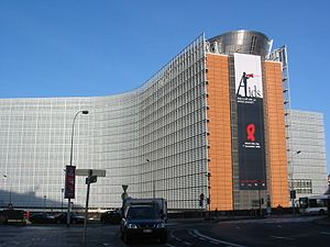 World AIDS Day banner, European Commission bui...
