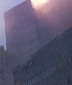 Collapse of the World Trade Center - 7 World Trade Center on fire after the collapse of the Twin Towers on September 11, 2001