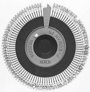 Daisy wheel printing - Image: Xerox Roman PS Daisywheel mono