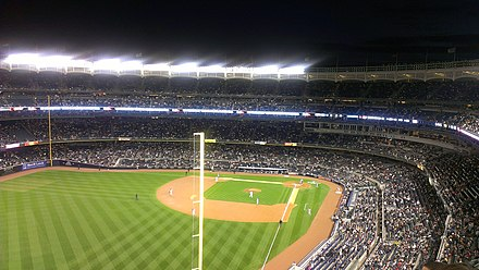 Yankee Stadium in 2012, from the left field upper deck Yankee Stadium 2012.jpg