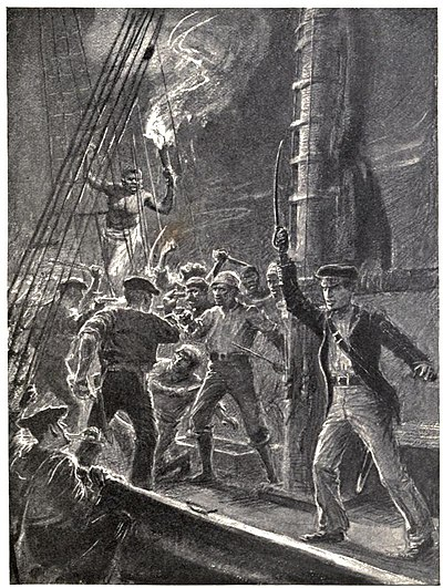 Men fighting on a ship