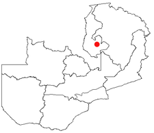 Location of Samfya in Zambia