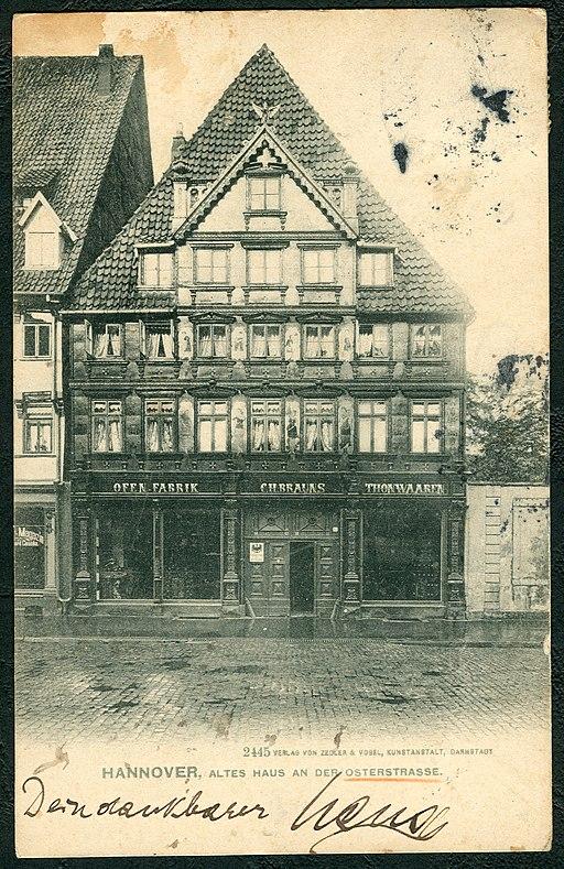 Zedler & Vogel PC 02445 Hannover, Altes Haus an der Osterstraße, Bildseite Ofenfabrik C. H. Brauns