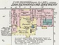 """SAN BERNARDINO BREWERY"" ""CHAS. ANDRASON owner H. J. WEIL lessee"" on E Street in January 1887 map detail, Sanborn Fire Insurance Map from San Bernardino, San Bernardino County, California. LOC sanborn00805 002-4 (cropped).jpg"