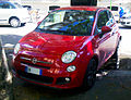 """ 13 - ITALY - Fiat 500s - front view - red coupes in Milan - parking.jpg"