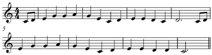 """Hai khổ đầu giai điệu bài """"Oh! Susanna"""" của Stephen Foster dựa trên"""