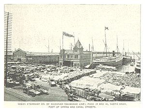 History of Savannah, Georgia - The Savannah Line Terminal in the Harbor of New York City, Piers 34 and 35 (1893)