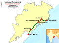 (Palasa - Paradip) Passenger train route map.png