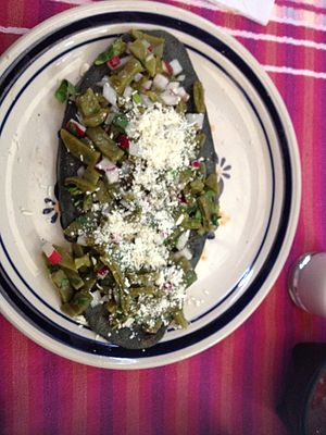 Blue corn - Tlacoyo, Mexican appetizer made of blue corn