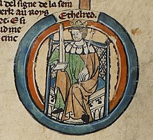 Æthelred as depicted in the early-fourteenth-century Genealogical Roll of the Kings of England