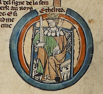 Æthelred I, King of Wessex - Æthelred as depicted in the early-fourteenth-century Genealogical Roll of the Kings of England