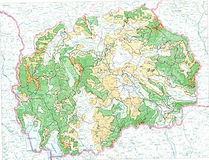 Flora of the Republic of Macedonia - Map of the vegetation in Macedonia