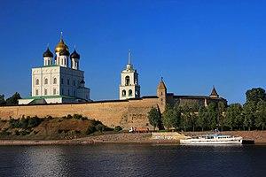 Pskov -  View of the Pskov Kremlin from the Velikaya River in 2014