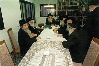 "Moetzes Gedolei HaTorah - The first Moetzes Gedolei HaTorah of ""Degel HaTorah"", March 1989, home of Rabbi Schach. Sitting alongside Rabbi Steinman"