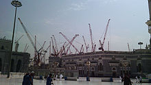 Another view of construction at the Grand Mosque, showing cranes of the type that collapsed.