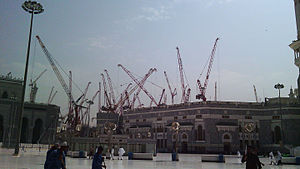 Mecca crane collapse - Another view of construction at the Grand Mosque, showing cranes of the type that collapsed.