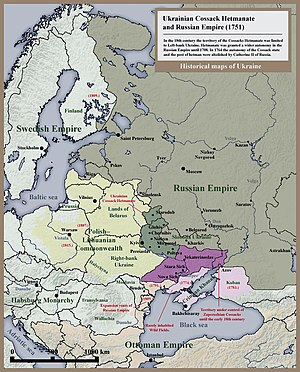 Zaporizhian Sich - Historical map of the Ukrainian Cossack Hetmanate (dark green) and of the territory of the Zaporozhian Cossacks (purple) under the rule of the Russian Empire (1751)