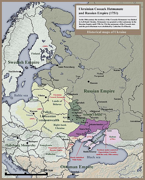 Historical map of Ukrainian Cossack Hetmanate and territory of Zaporozhian Cossacks under rule of Russian Empire (1751).