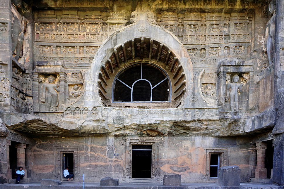 079 Cave 26, Exterior of Chaitya Hall (33535465394)